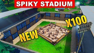 NEW ITEM Spiky Stadium in Fortnite Battle Royale and Port a Fortress GAMEPLAY FORTNITE Battle Royale