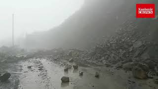 The Jammu-Srinagar national highway  was closed  following a landslide triggered by heavy rains.