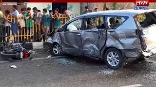 Dhoraji : An accident between a motorcycle and a car
