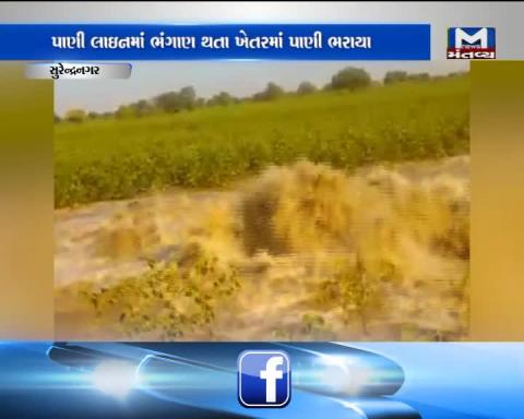 Surendranagar: Farm filled with water due to breach in pipeline
