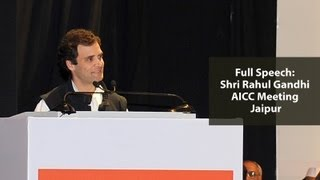 Rahul Gandhi addressing the All India Congress Committee Session in Jaipur