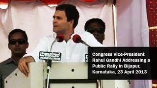 Congress Vice-President Rahul Gandhi Addressing a Public Rally in Bijapur, Karnataka - 23 April 2013