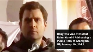 Congress Vice-President Rahul Gandhi addressing a public rally at Azamgarh (UP) January 10, 2012