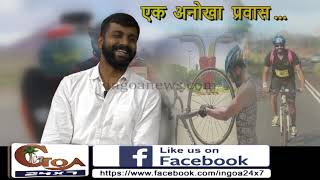 Nikhil Sasidharan in his cycling expedition from Goa to Kochi