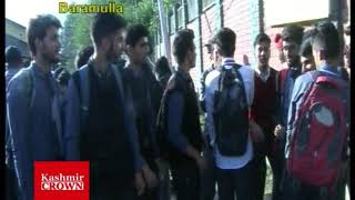 11-Class Students Protest In Baramulla Over Academic Issues(Video Report By Rizwan Mir)
