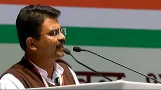 President of Indian Youth Congress- Rajiv Satav addressing AICC Session in New Delhi