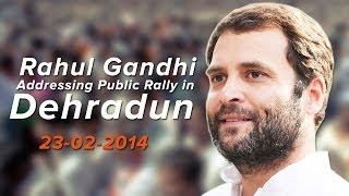 Rahul Gandhi addressing a public rally in Dehradun on February 23, 2014