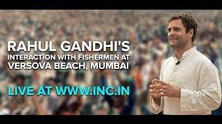 Rahul Gandhi Interaction with Fishermen Versova  Beach, Mumbai   March 6, 2014