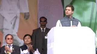 Rahul Gandhi Addressing a Public Rally in Arunachal Pradesh on March 18, 2014