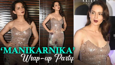 Kangana Ranaut dazzles in a golden gown at 'Manikarnika' wrap-up party