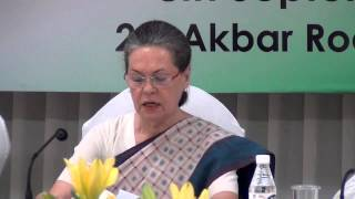 Congress President Smt. Sonia Gandhi addresses at CWC