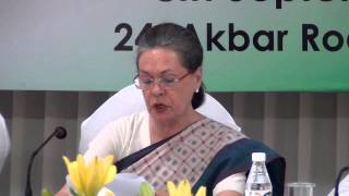 Congress President Smt. Sonia Gandhi addresses CWC