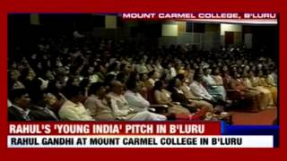 Rahul Gandhi interacts with students at Mount Carmel College, Bengaluru