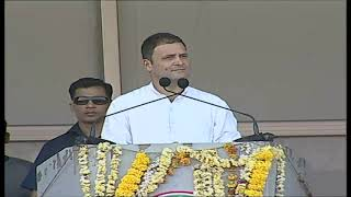 Congress President Rahul Gandhi addresses a public gathering at Kamareddy, Telangana