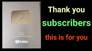 Yt silver play button for passing 100000 subscribers on YouTube || Thank you all subscribers ❤