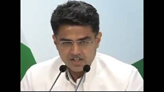 Sachin Pilot addresses media on Choksi's firm gave 24 Lakh Retainership to Jaitley & Associates