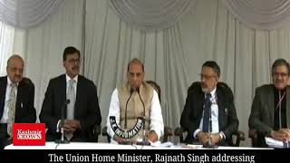 The Union Home Minister, Rajnath Singh addressing a press conference in Srinagar.