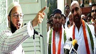 Congress Feroz Khan Speaks Against Asaduddin Owaisi And Kcr | Protest At Gandhi Bhavan |
