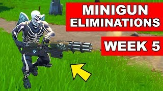 MINIGUN ELIMINATIONS Challenge in Fortnite Week 5 Season 6 (Fortnite Battle Royale)