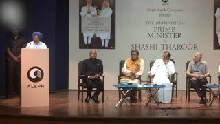 Former Prime Minister Manmohan Singh speaking at the launch of Shashi Tharoor's new book