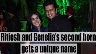 Riteish Deshmukh and Genelia's new born second baby gets a unique name