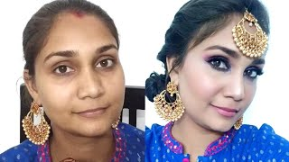 Glam Festive/Bridal Makeup Step by Step in Hindi | SFR one Brand| Affordable Makeup under Rs. 300