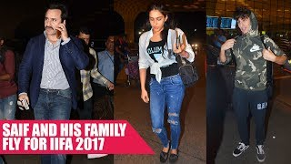 Saif Ali Khan, Sara Ali Khan And Ibrahim Ali Khan Depart For IIFA 2017