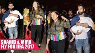 Shahid Kapoor, Mira Rajput And Daughter Misha Depart For IIFA 2017