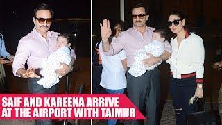 Saif Ali Khan and Kareena Kapoor Khan Arrive at The Airport With Taimur