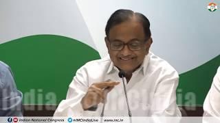 AICC Press Briefing By P. Chidambaram at Congress HQ on Jan Dhan