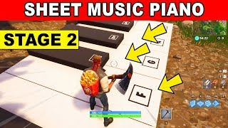 STAGE 2 - Play the Sheet Music at the piano near Pleasant Park LOCATION WEEK 6 CHALLENGES Fortnite