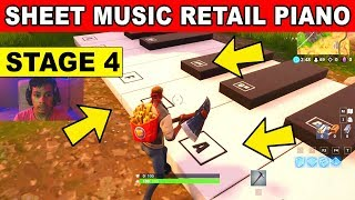 STAGE 4 - Play the Sheet Music at the piano near Retail Row LOCATION WEEK 6 CHALLENGES Fortnite