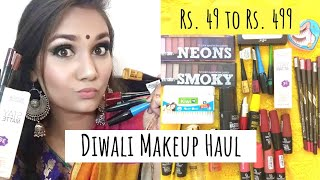 Affordable Diwali Makeup Haul Rs. 49 to Rs. 499 + mini reviews | Nidhi Katiyar