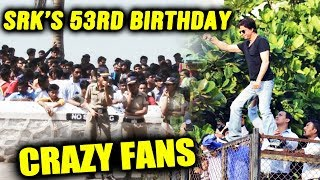 HUGE CROWD Outside Shahrukh Khans Mannat For His BIRTHDAY | SRK's 53rd Birthday Celebration