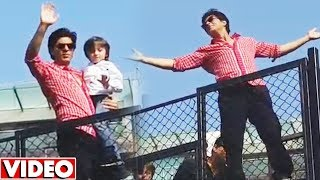 Shahrukh Khan And AbRam WAVES At FANS Outside Mannat | 53rd Birthday Celebration With Fans