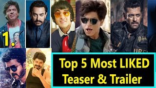 Top 5 Most Liked Trailer And Teaser Record In INDIA I Zero Trailer Ranks 1st