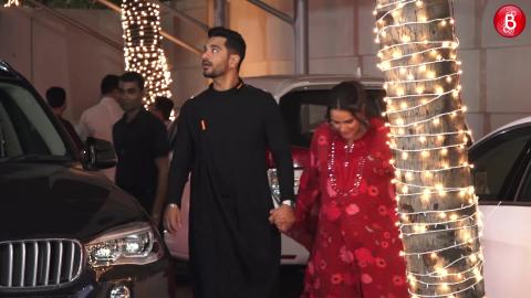 Pregnant Neha Dhupia with Husband Angad Bedi at Shilpa Shetty's Diwali Bash