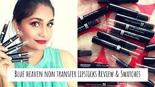 Blue Heaven Non Transfer Lipsticks Review & Swatches | 18 Shades | Nidhi Katiyar