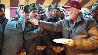 बॉर्डर पर रहकर देश की सुरक्षा करने वाले जवानों के साथ दीपावली मानते प्रधानमंत्री नरेन्द्र मोदी