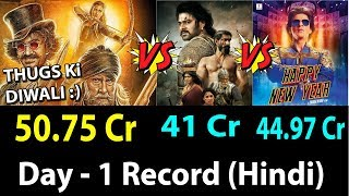 Thugs Of Hindostan Vs Baahubali 2 Vs Happy New Year Collection Comparison Day 1 Hindi Version