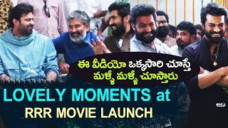 Lovely moments at RRR Movie Launch | JR NTR, Ram Charan, Rajamouli, Chiranjeevi, Prabhas | #RRR