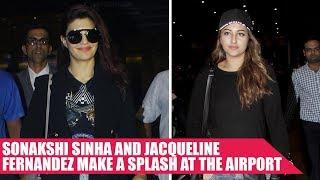 Sonakshi Sinha and Jacqueline Fernandez  Return From Dabangg Tour