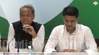 AICC Press Briefing By Sachin Pilot, Ashok Gehlot and Avinash Pande at Congress HQ