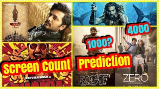 KGF Vs Zero Vs Simmba Vs Mauli Vs Aquaman Screencount Prediction