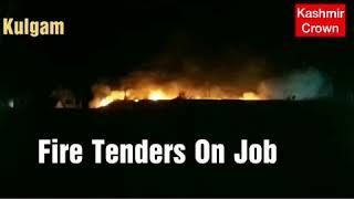 Kulgam Major Fire Incident Inside Kulgam Qazigund Crpf Camp.Fire Tenders On Job.