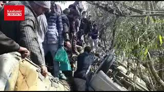 Accident on Baramulla srinagar national highway near Hyderbeigh 4 persons critically  injured