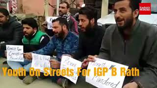 Kashmir  Youth On Streets In Srinagar Opposing Transfer Of IGP Basanth Rath.