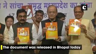 FM Jaitley, MP CM Shivraj Chouhan release BJP's vision document in Bhopal