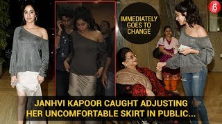 Janhvi Kapoor caught adjusting her uncomfortable skirt in public | Bollywood