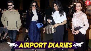 Anil Kapoor, Sonam Kapoor, Iulia Vantur & Karisma Kapoor Sport A Casual Look At The Airport